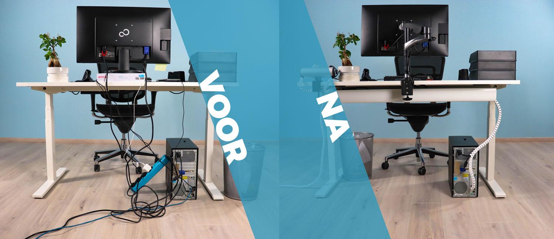 Een werkplek voor en na dat er kabelmanagement is toegepast.